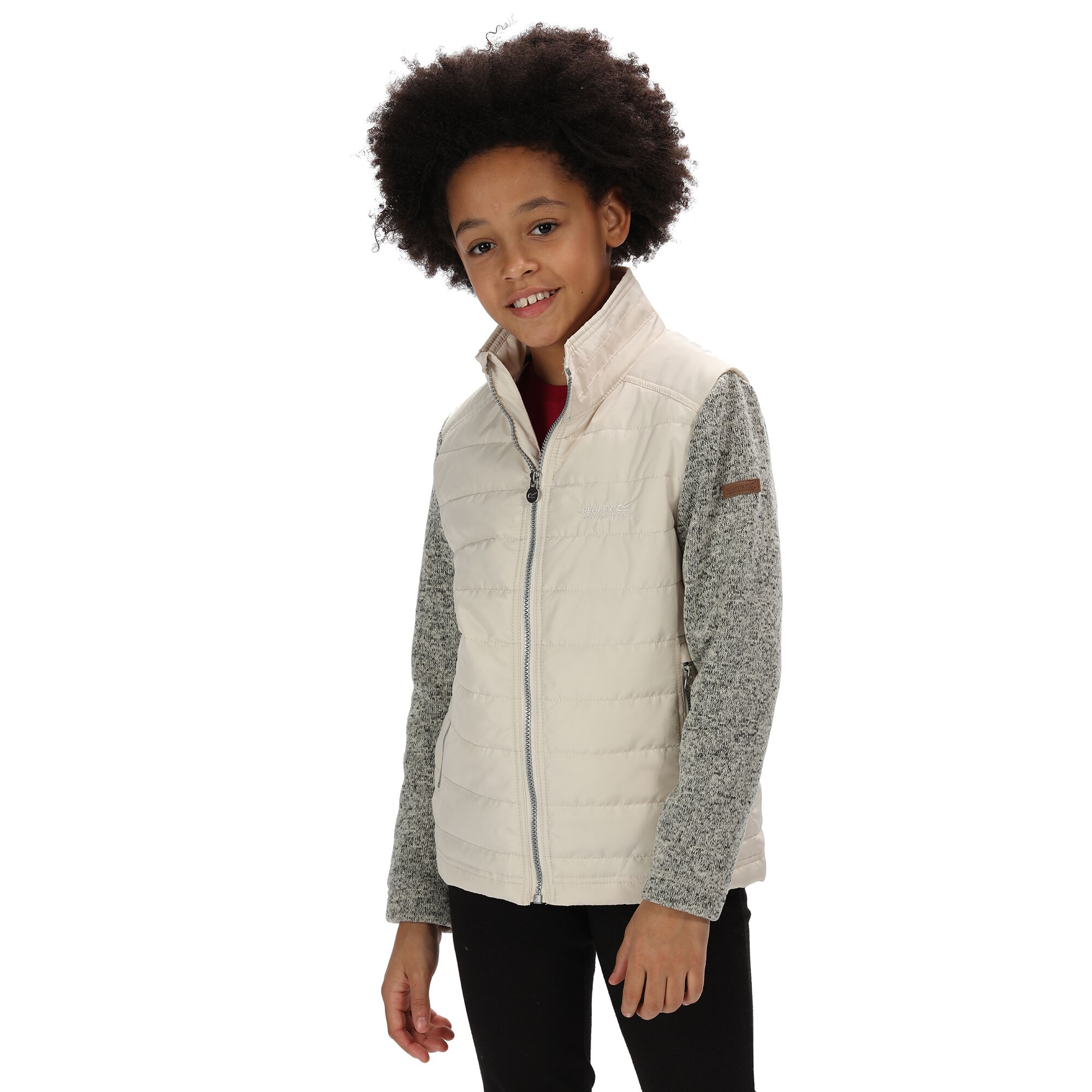 Regatta Childrens/Kids Kenya Padded Jacket With Fleece Sleeves (5-6 Years) (Light Vanilla)