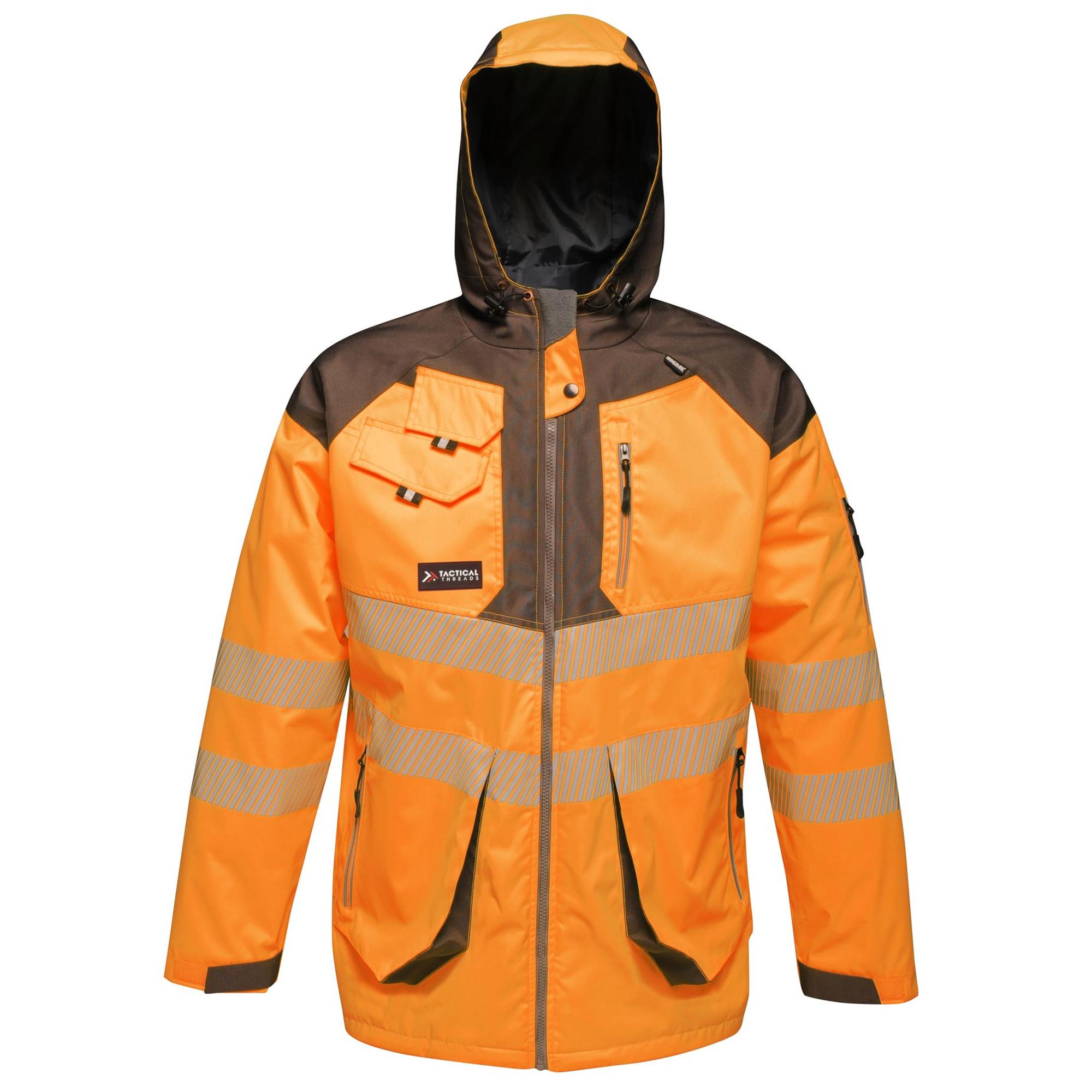 Regatta Mens Hi-Vis Waterproof Reflective Parka Jacket (S) (Orange/Grey)