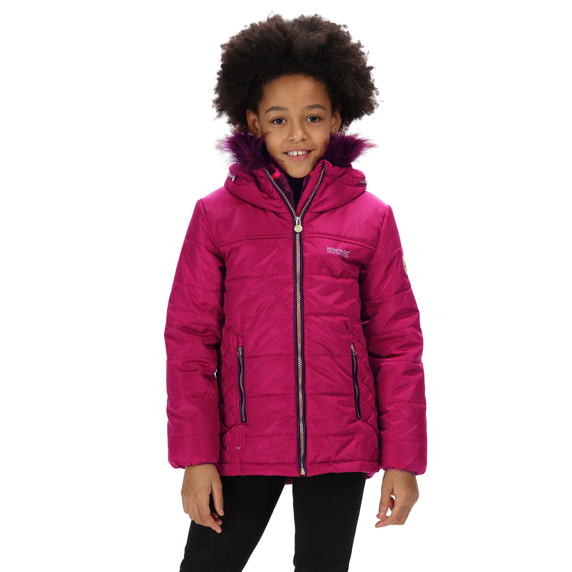 Regatta Childrens/Kids Westhill Faux Fur Trim Hooded Jacket (13 Years) (Beetroot)