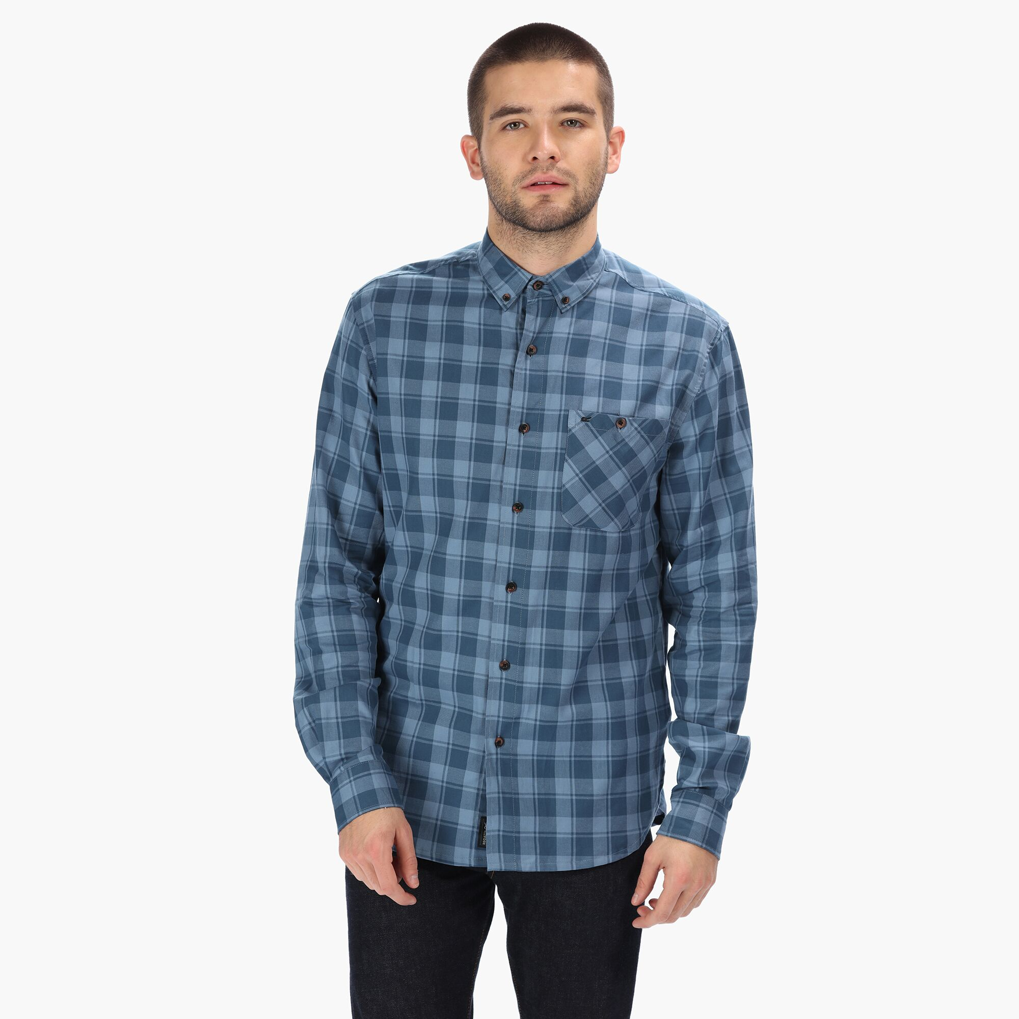 Regatta Great Outdoors Mens Lazare Long Sleeve Checked Shirt (L) (Burnt Umber/Black)