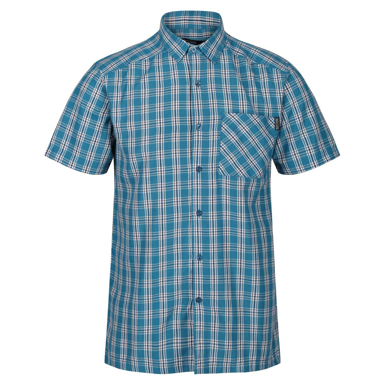 Regatta Mens Mindano V Short Sleeved Checked Shirt (S) (Olympic Teal)