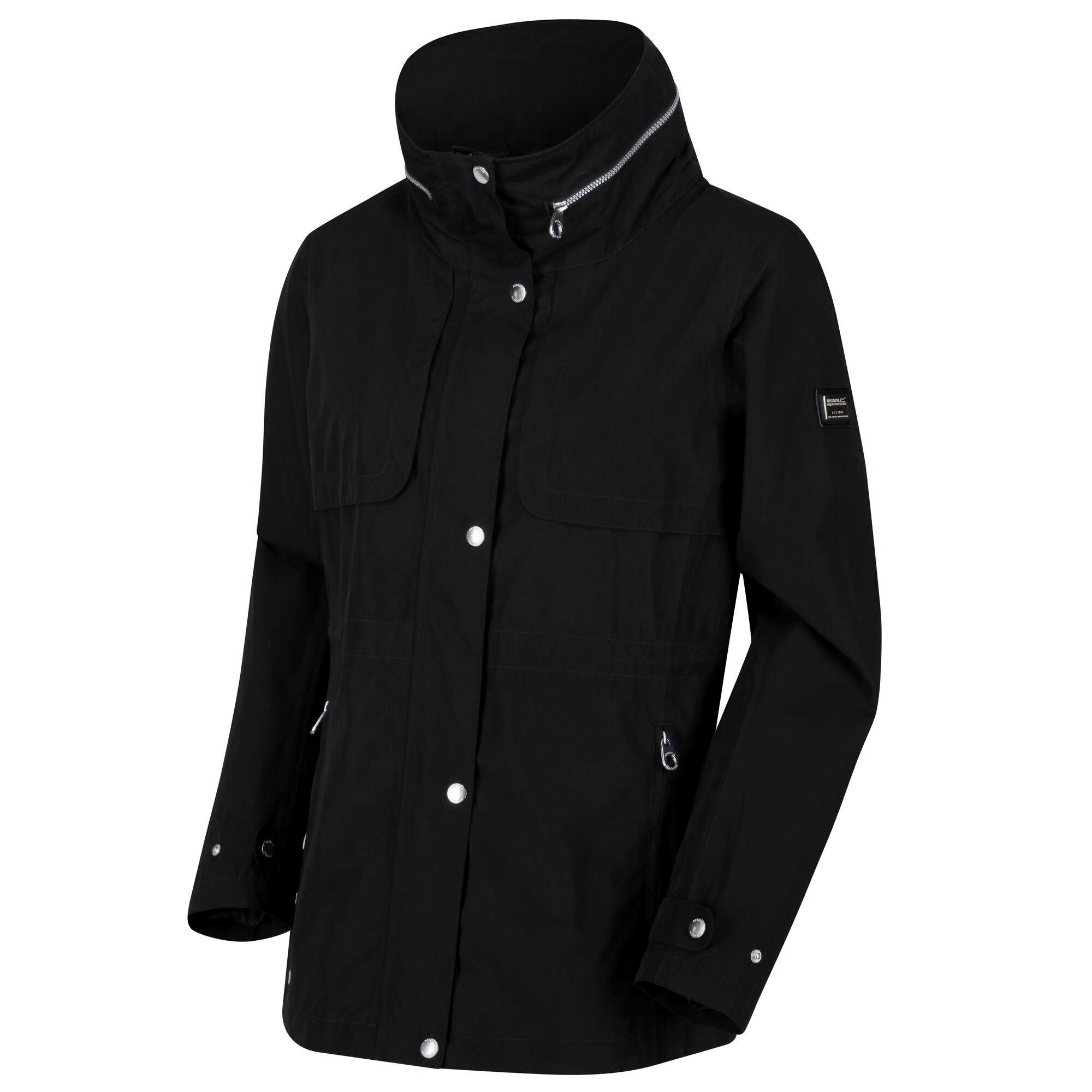 Regatta Womens/Ladies Narelle Waterproof Funnel Neck Jacket (10 UK) (Black)