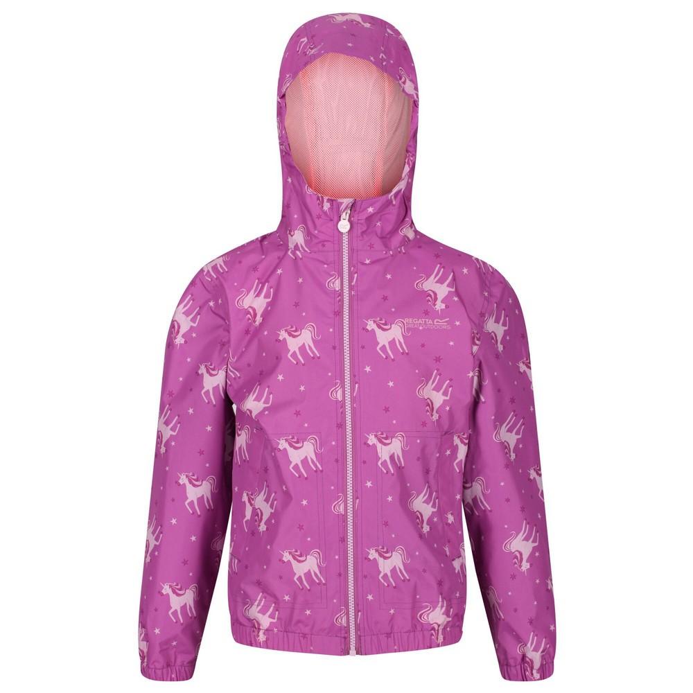 Regatta Girls Ellison Printed Waterproof Jacket (5-6 Years) (Radiant Orchid)