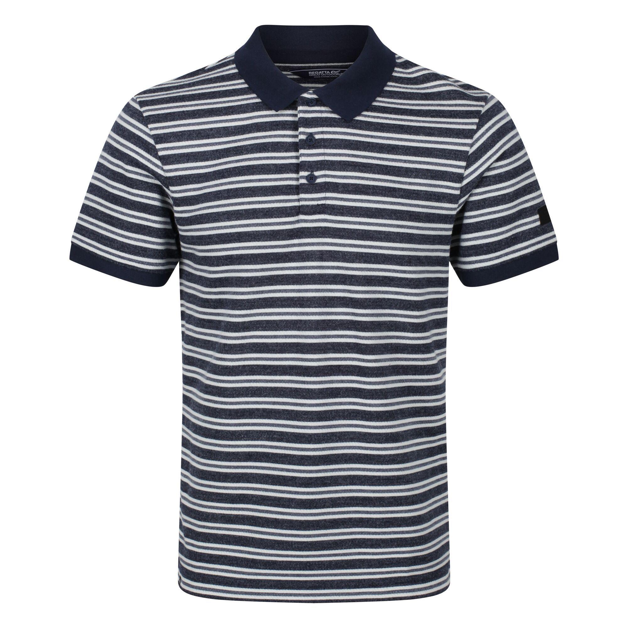 Regatta Mens Malak Striped Polo Shirt (L) (Navy)