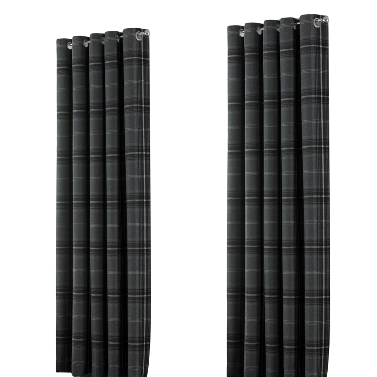 Riva Home Aviemore Checked Pattern Ringtop Curtains (90 x 72in (229 x 183cm)) (Grey)