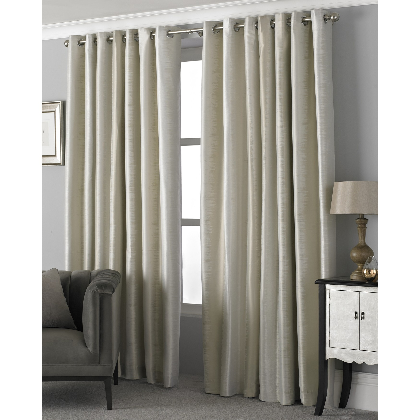 Riva Home Hurlingham Ringtop Eyelet Curtains (168 x 229cm) (Champagne)