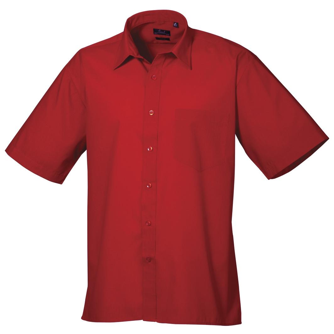 Premier Mens Short Sleeve Formal Poplin Plain Work Shirt (15) (Hot Pink)