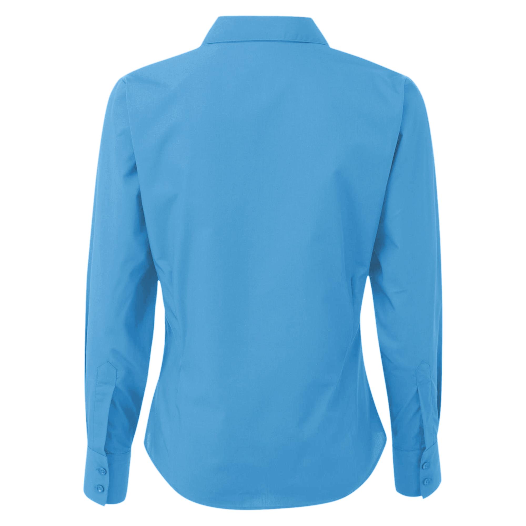 0c680965ca109 Premier Womens Ladies Poplin Long Sleeve Blouse   Plain Work Shirt ...
