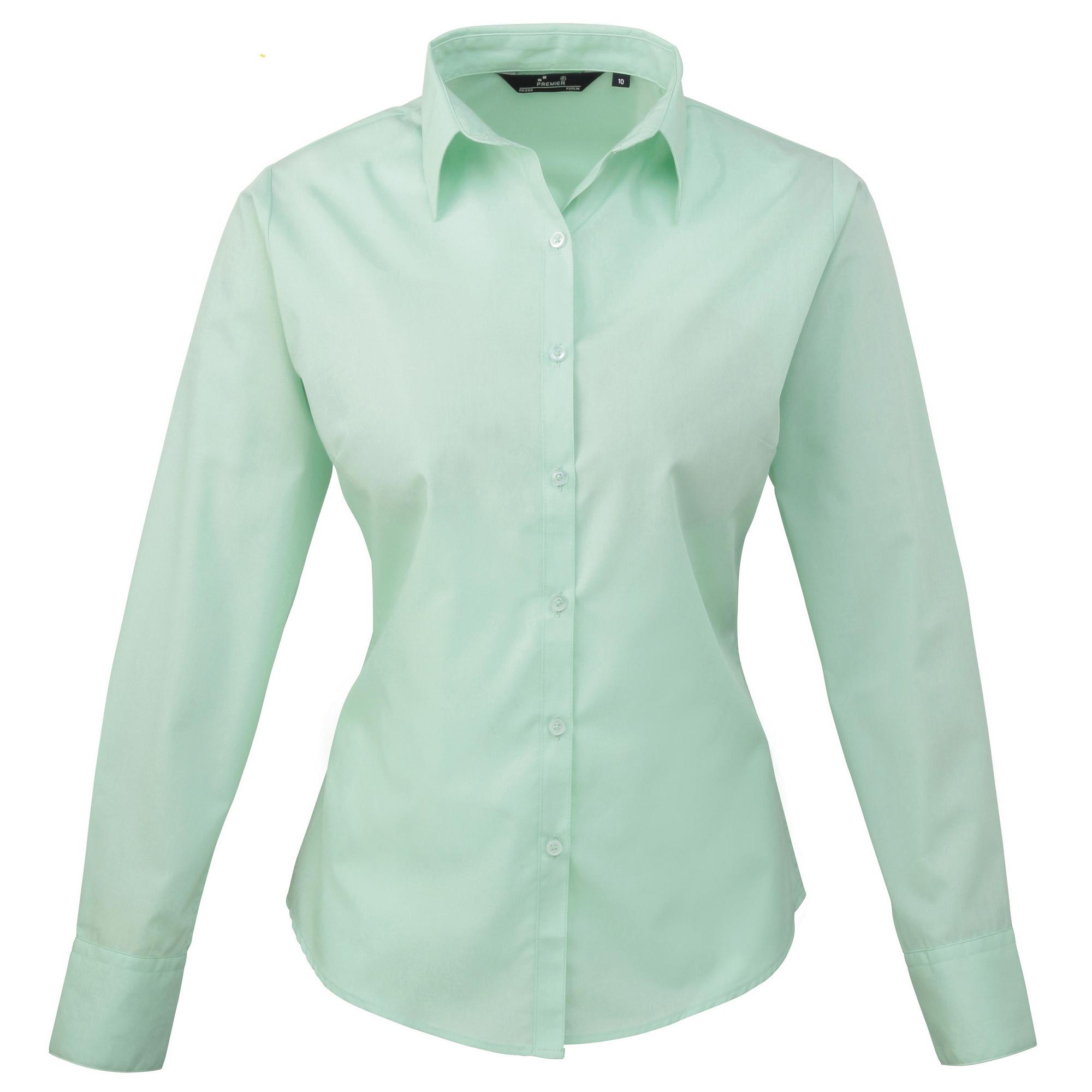 Premier Womens/Ladies Poplin Long Sleeve Blouse/Plain Work ...
