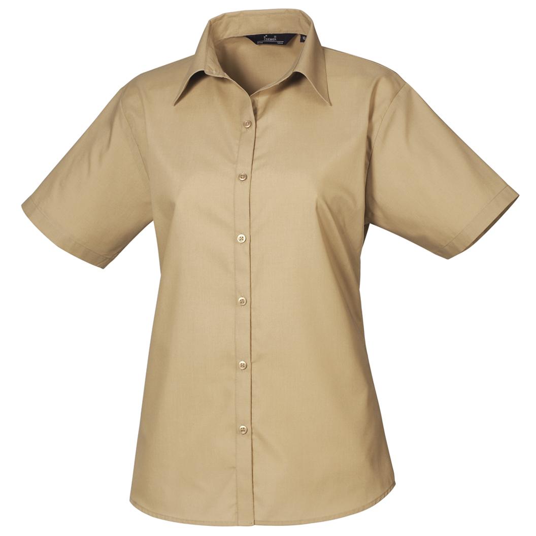 Premier Short Sleeve Poplin Blouse / Plain Work Shirt (6) (Red)