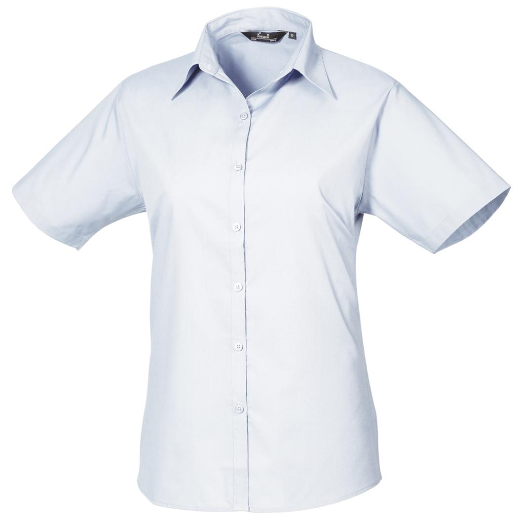 Premier Short Sleeve Poplin Blouse / Plain Work Shirt (16) (Rich Violet)