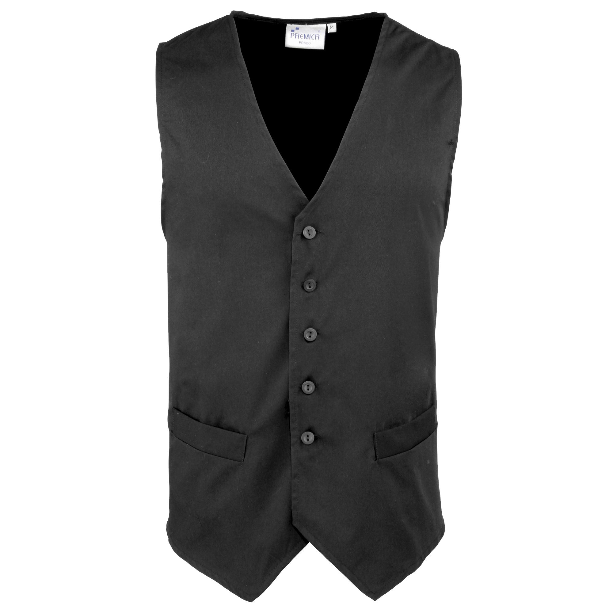 Premier Mens Hospitality / Bar / Catering Waistcoat (2XL) (Black)