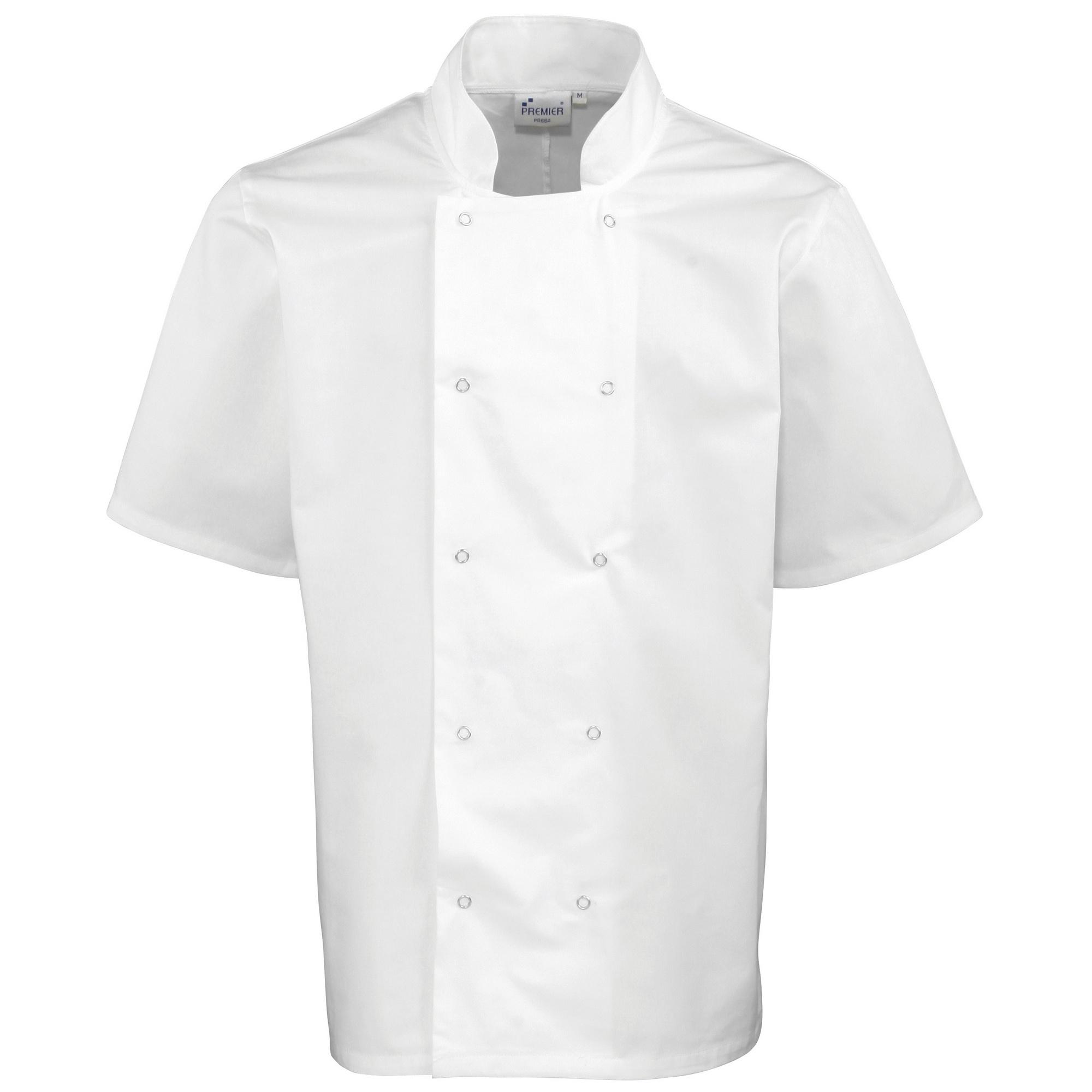 Premier Unisex Studded Front Short Sleeve Chefs Jacket (M) (White)
