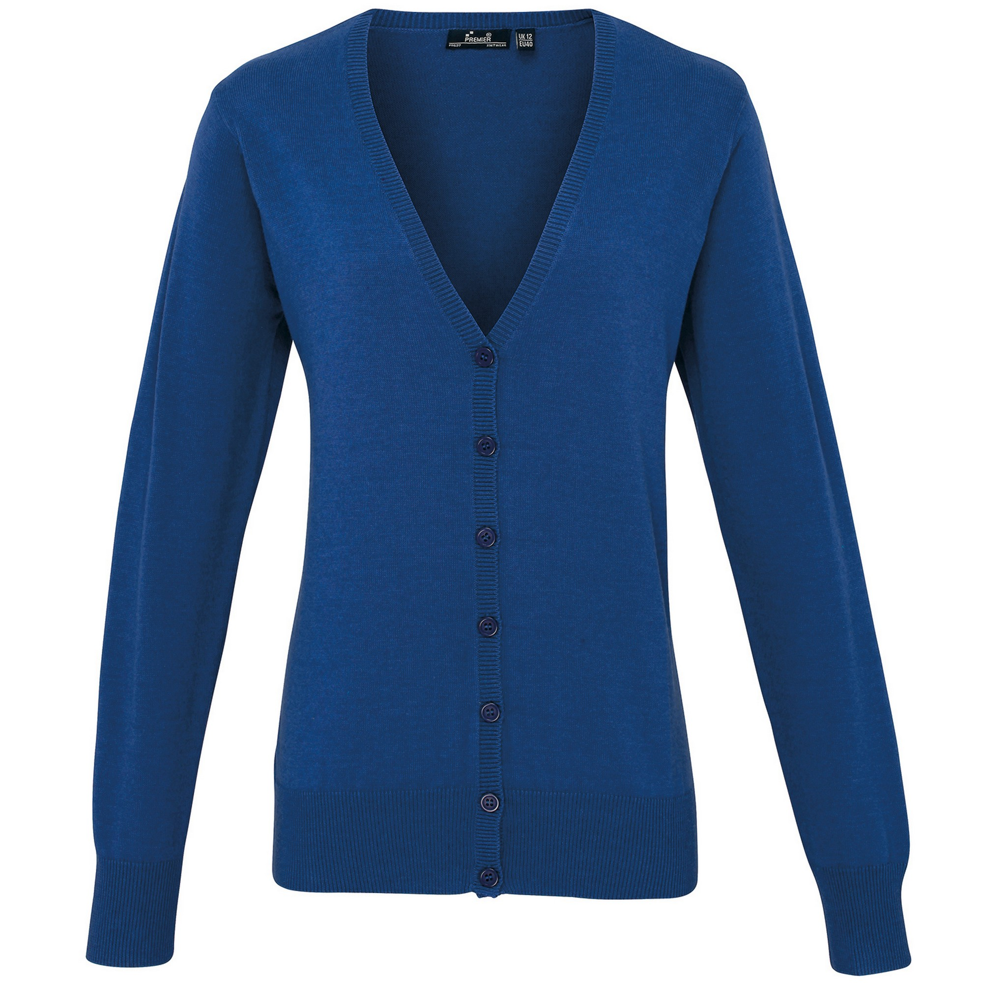 Premier Womens/Ladies Button Through Long Sleeve V-neck Knitted Cardigan (16) (Royal)
