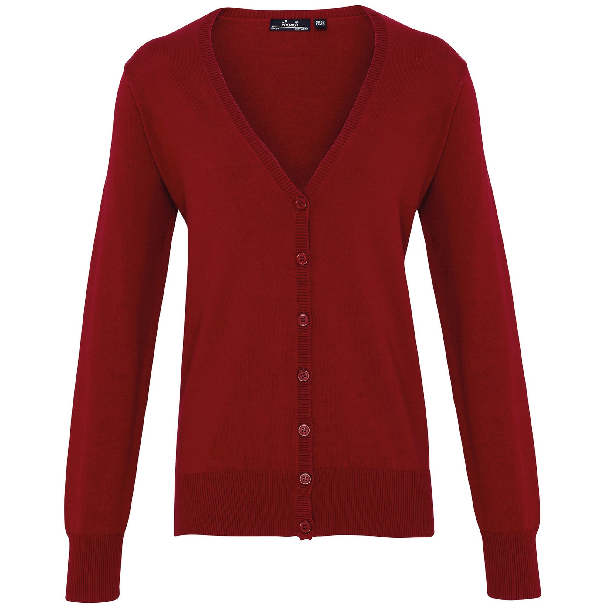 Premier Womens/Ladies Button Through Long Sleeve V-neck Knitted Cardigan (22) (Burgundy)