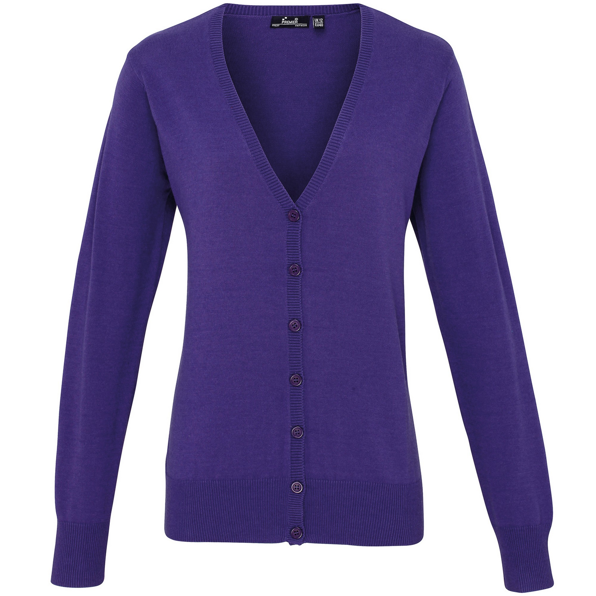 Premier Womens/Ladies Button Through Long Sleeve V-neck Knitted Cardigan (8) (Purple)
