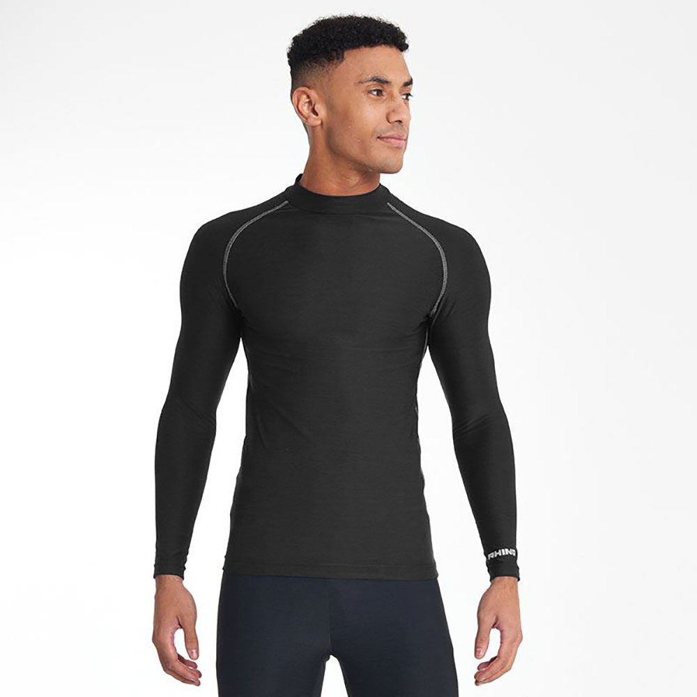 Rhino Mens Thermal Underwear Long Sleeve Base Layer Vest Top (L/XL) (Black)
