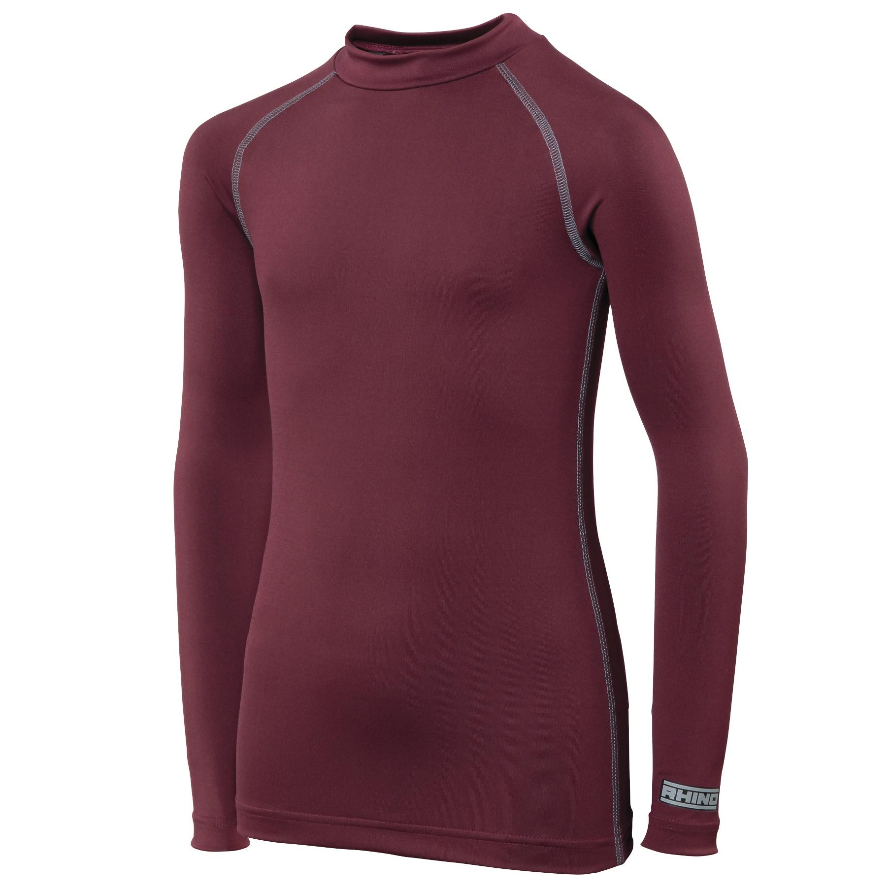 Rhino Childrens Boys Long Sleeve Thermal Underwear Base Layer Vest Top (XSY) (Maroon)