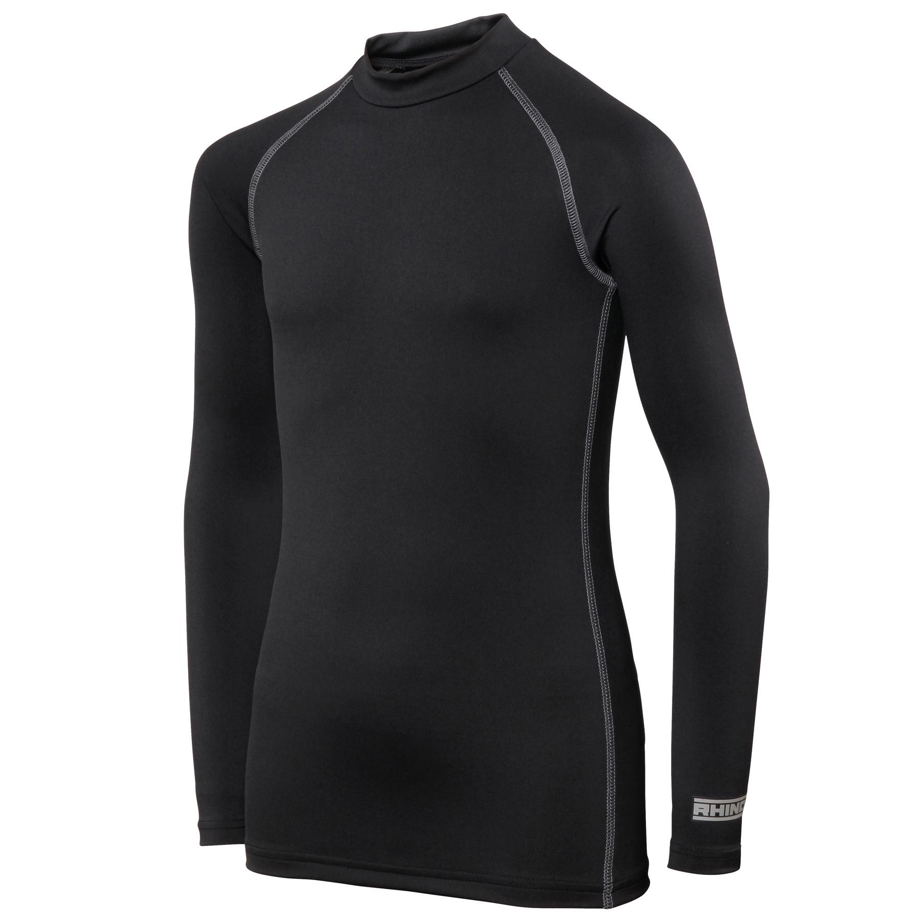 Rhino Childrens Boys Long Sleeve Thermal Underwear Base Layer Vest Top (SY-MY) (Black)