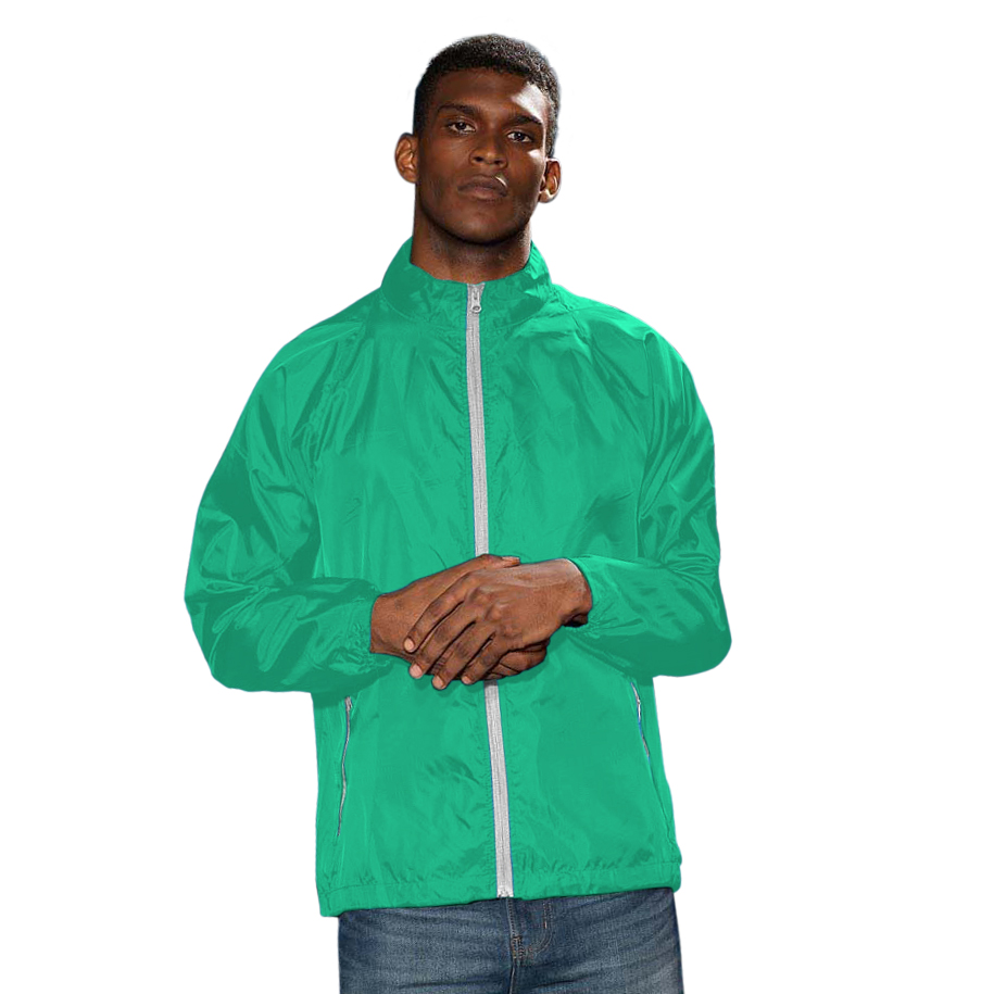 2786 Mens Contrast Lightweight Windcheater Shower Proof Jacket (2XL) (Kelly/ White)