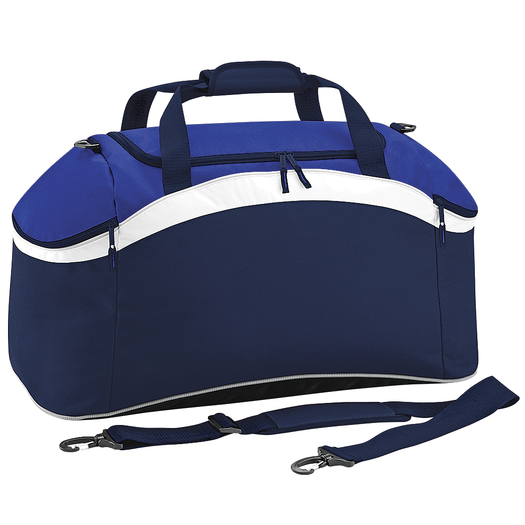 BagBase Teamwear Sport Holdall / Duffle Bag (54 Litres) (One Size) (French Navy/ Bright Royal/ White)