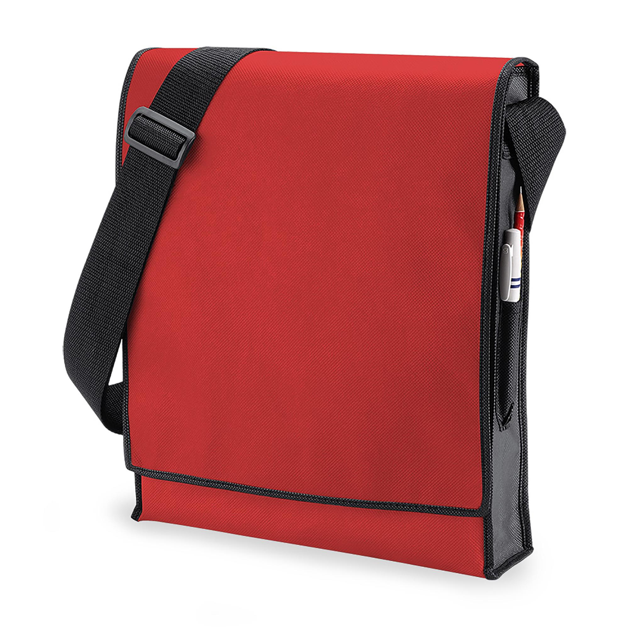 BagBase Budget Vertical Messenger Bag (10 Litres) (One Size) (Red/ Black)
