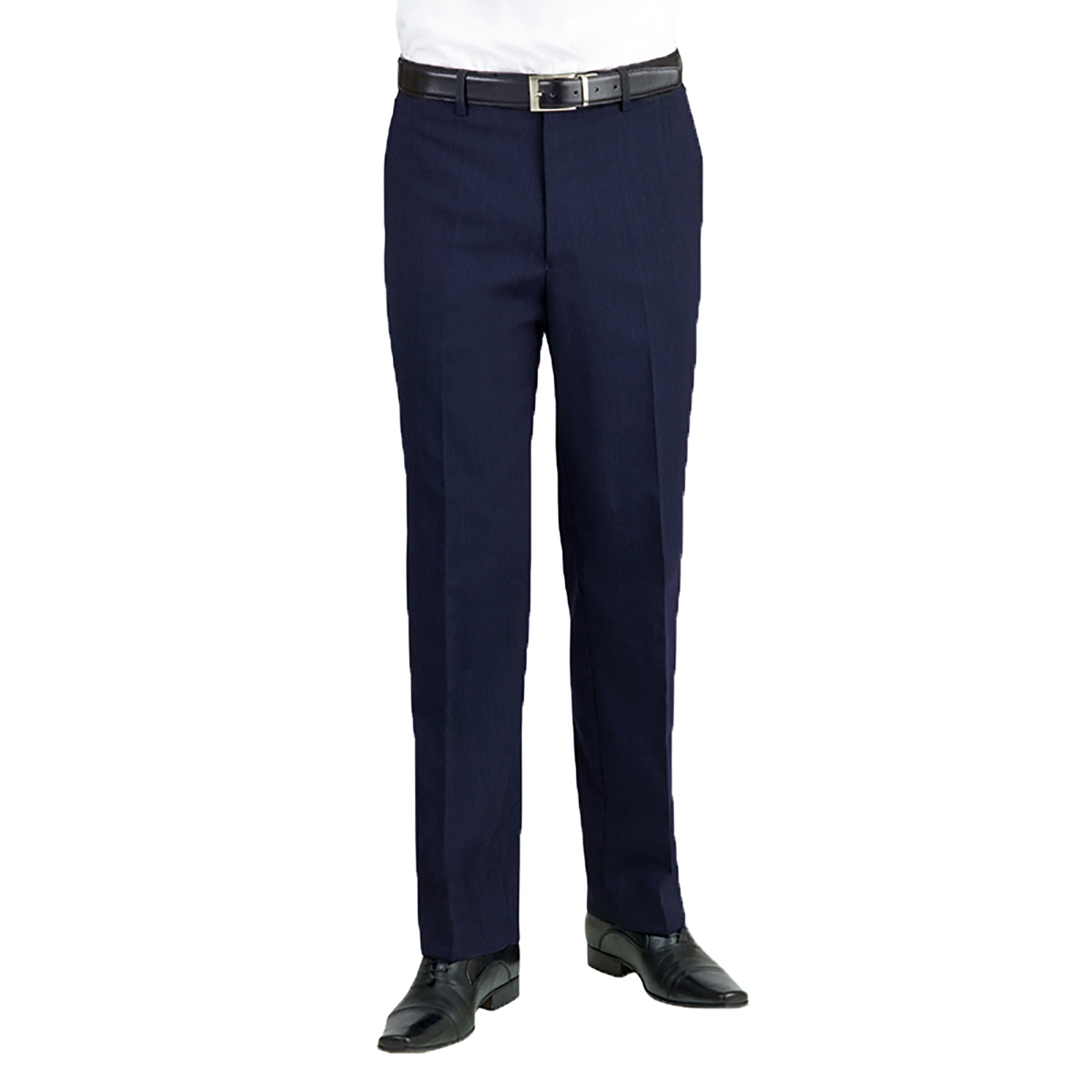 Brook Taverner Apollo Flat Front Formal Suit Trousers (32R) (Navy)