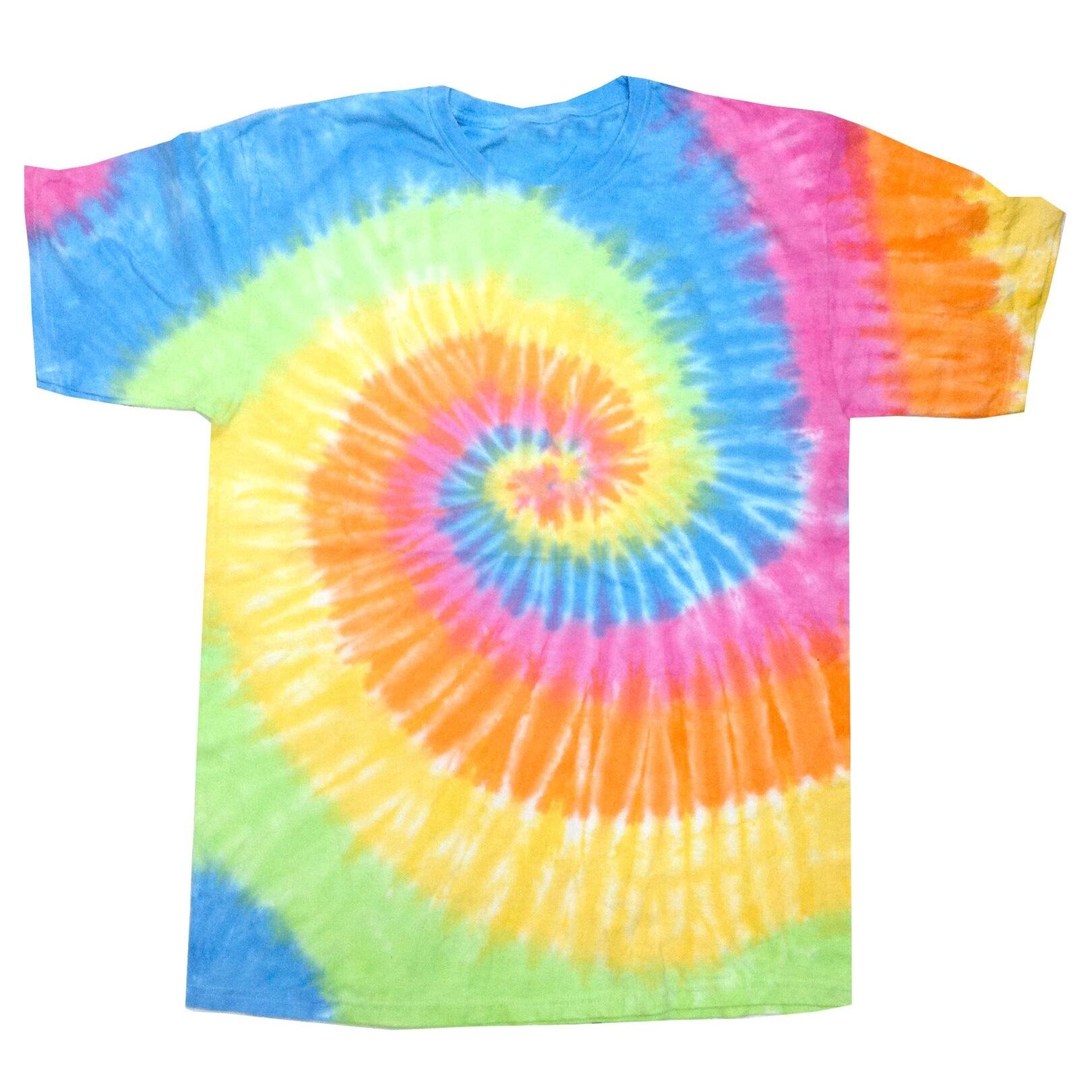 Colortone Womens/Ladies Rainbow Tie-Dye Short Sleeve Heavyweight T-Shirt (2XL) (Blue Jerry)