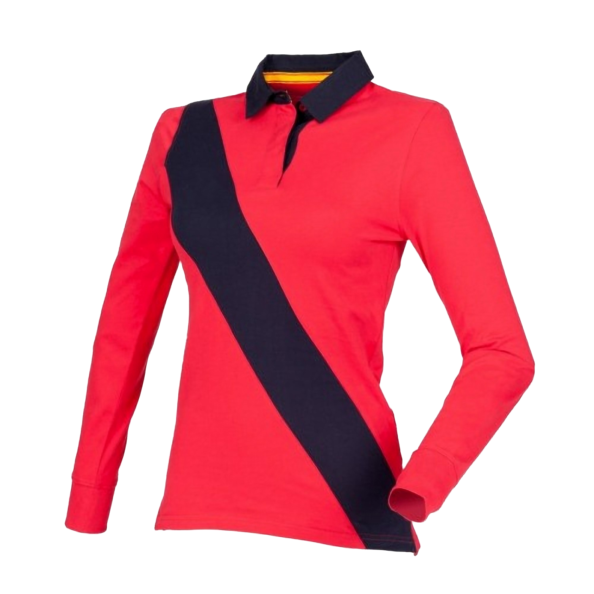 Front Row Womens/Ladies Diagonal Stripe House Rugby Polo Shirt (2XL) (Red/ Navy/ Navy)
