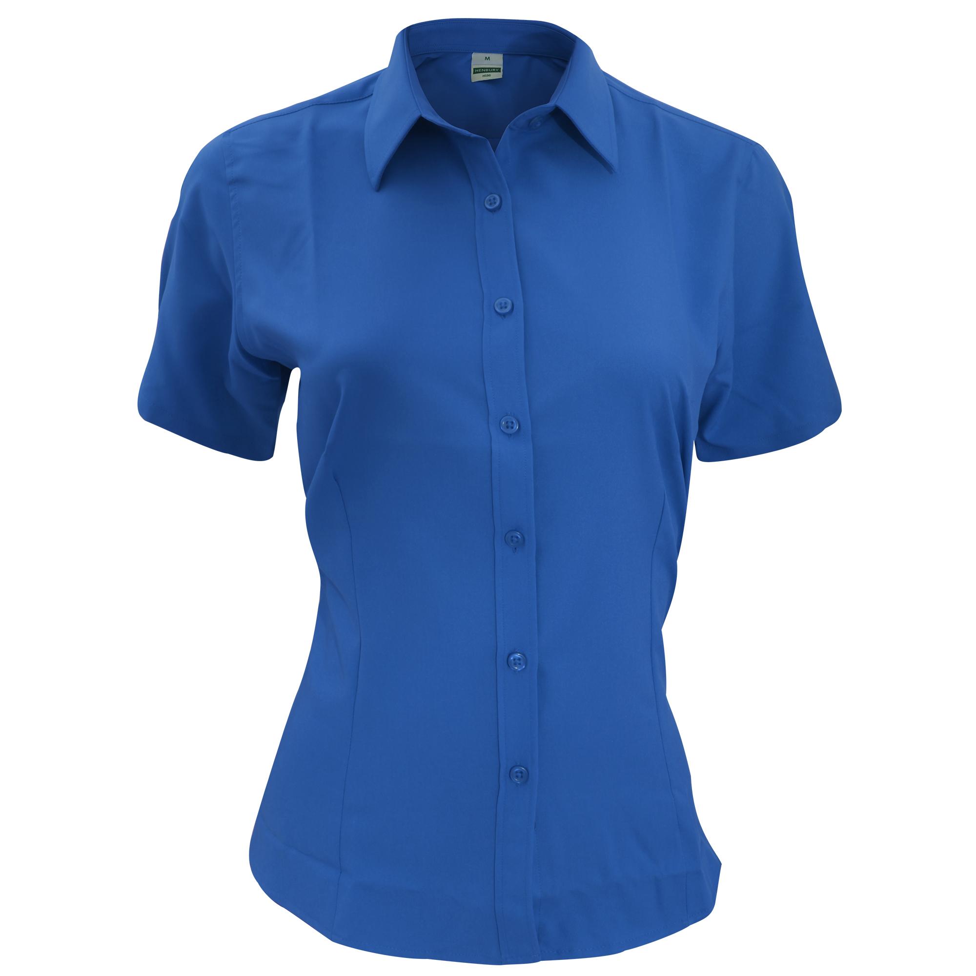 Henbury Womens/Ladies Wicking Short Sleeve Work Shirt (M) (Royal)