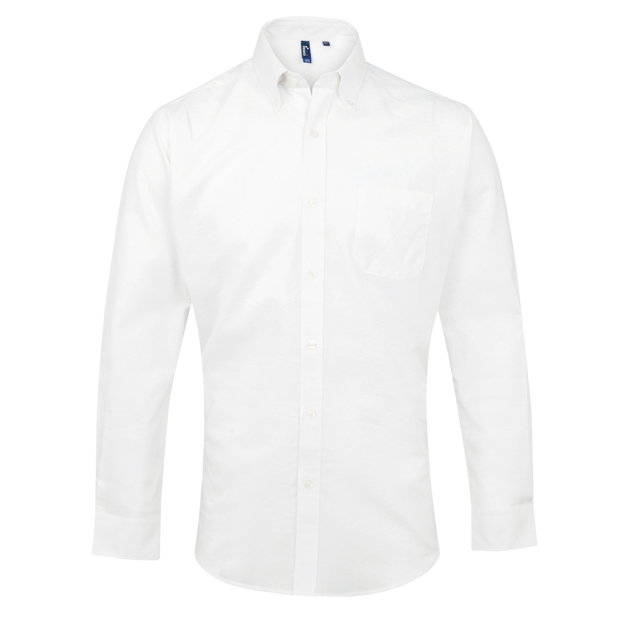 Premier Mens Signature Oxford Long Sleeve Work Shirt (19) (White)