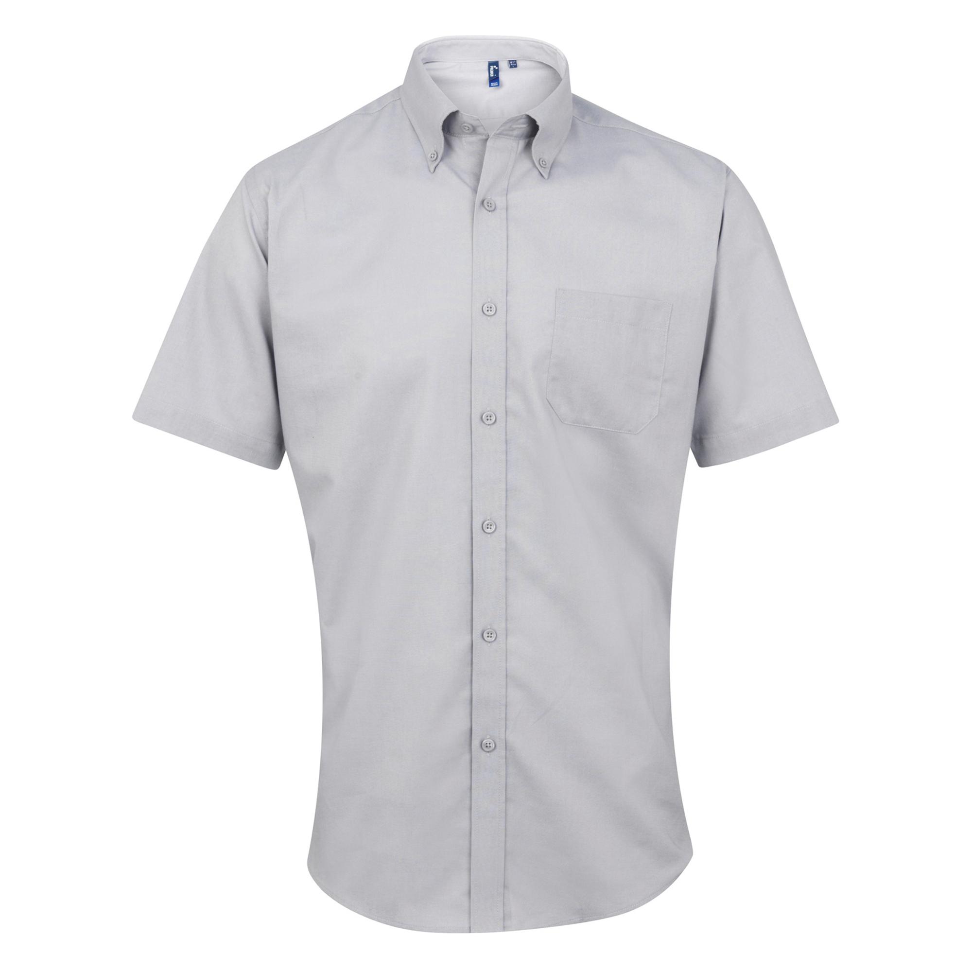 Premier Mens Signature Oxford Short Sleeve Work Shirt (15) (Silver)