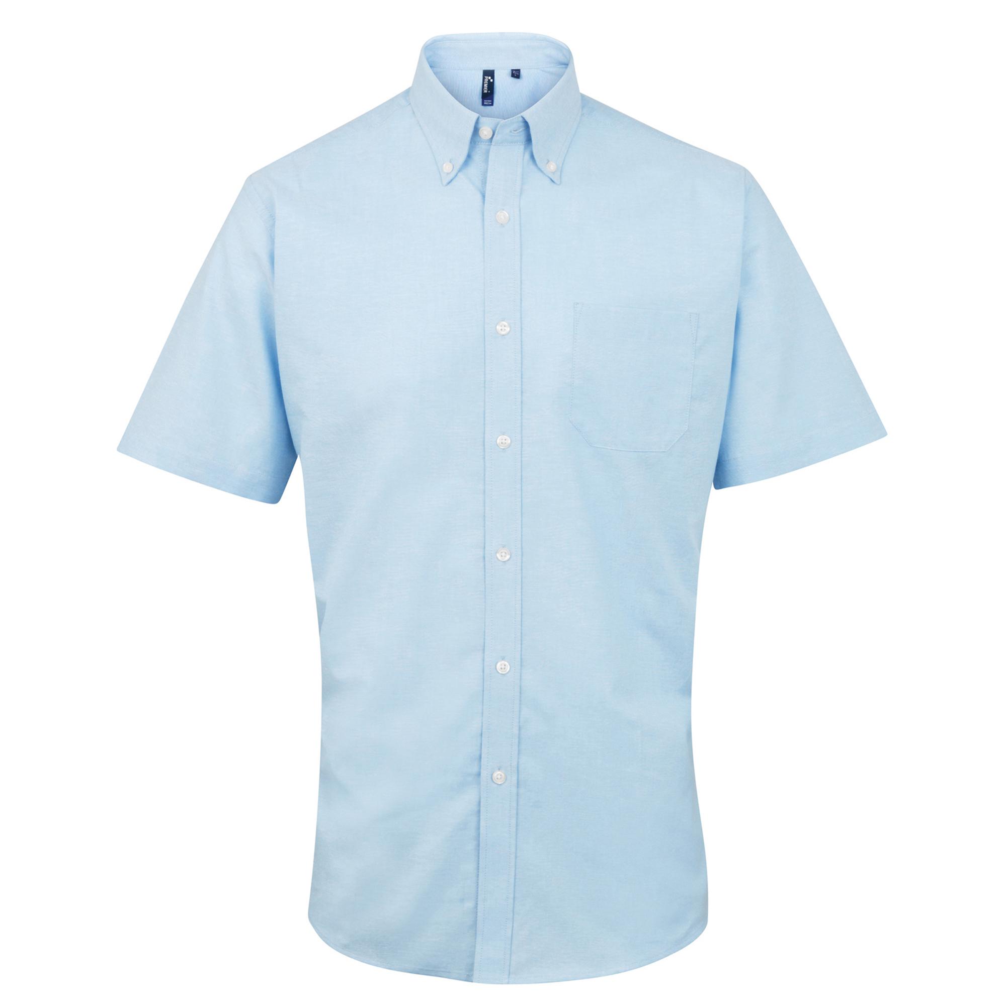 Premier Mens Signature Oxford Short Sleeve Work Shirt (17.5) (Light Blue)
