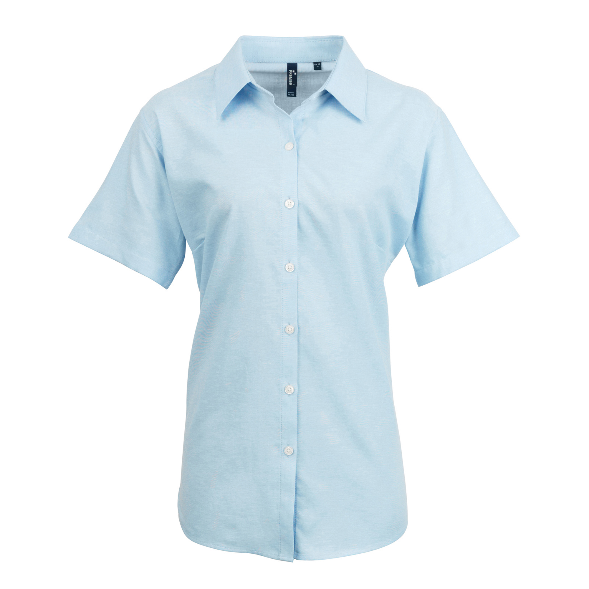Premier Womens/Ladies Signature Oxford Short Sleeve Work Shirt (26) (Light Blue)