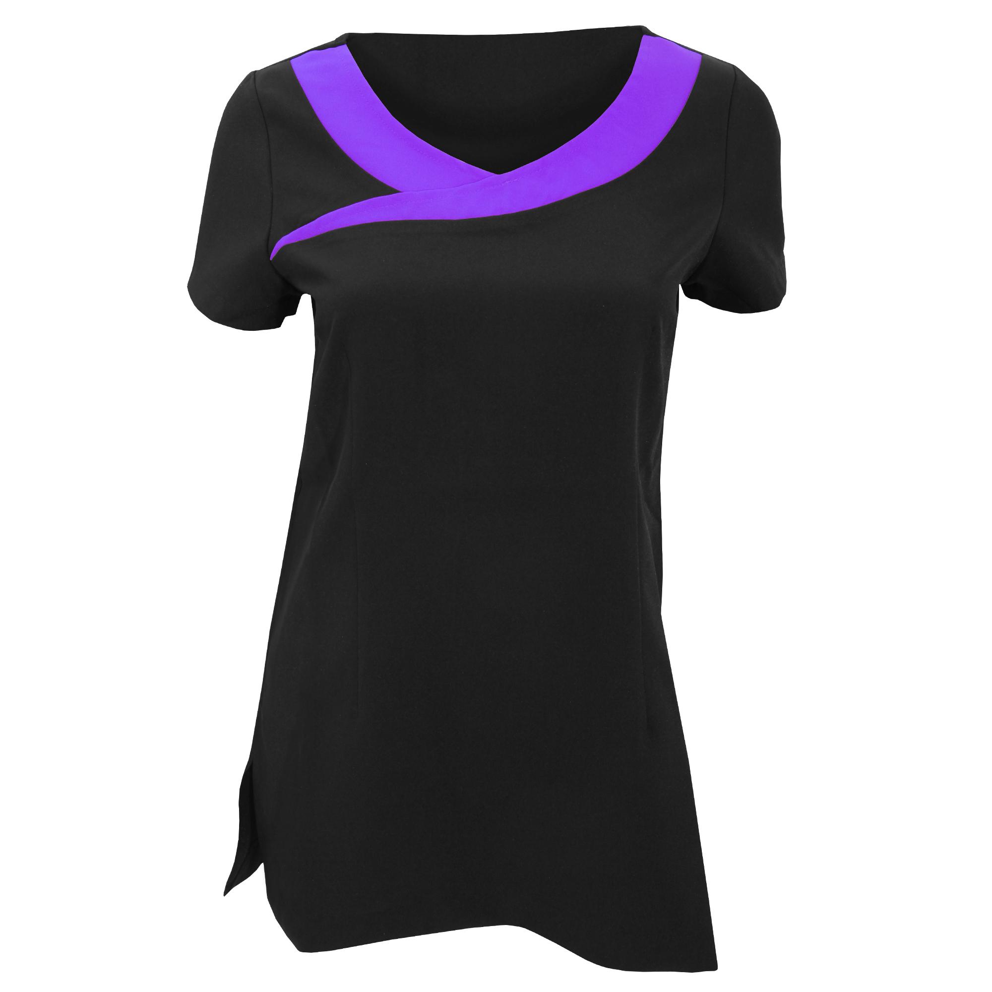 Premier Womens/Ladies Ivy Beauty And Spa Tunic (Contrast Neckline) (20) (Black / Purple)