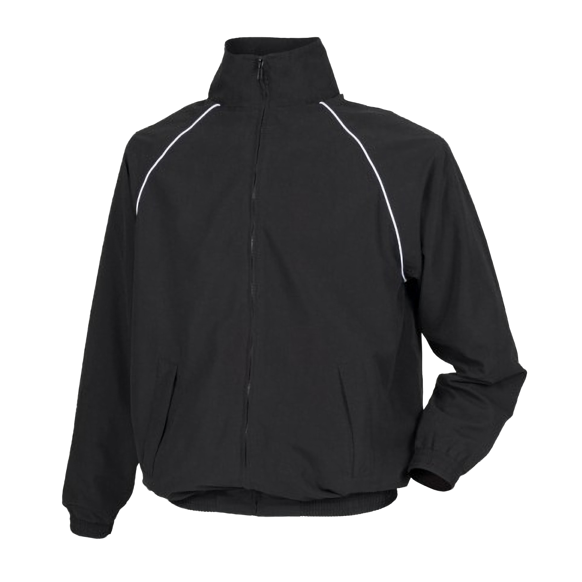 Tombo Teamsport Childrens Unisex Start Line Track Sports Training Jacket (S) (Black/ White piping)
