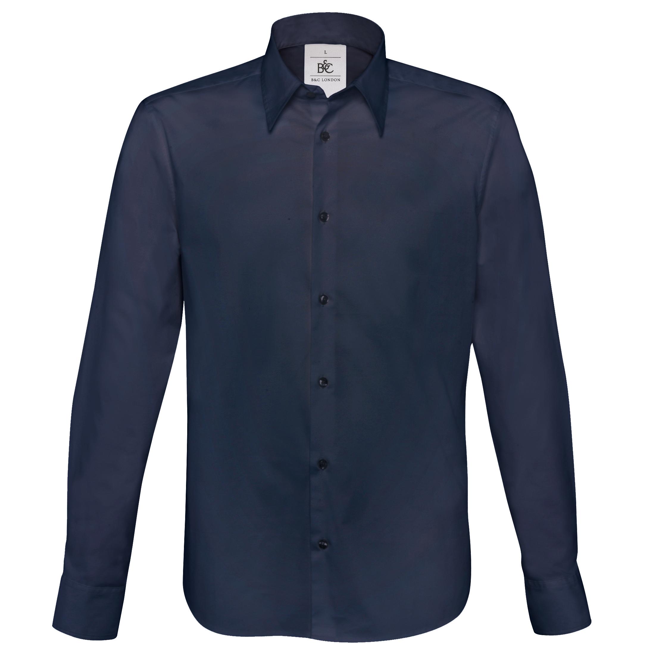 B&C Mens London Long Sleeve Poplin Shirt (S) (Navy)