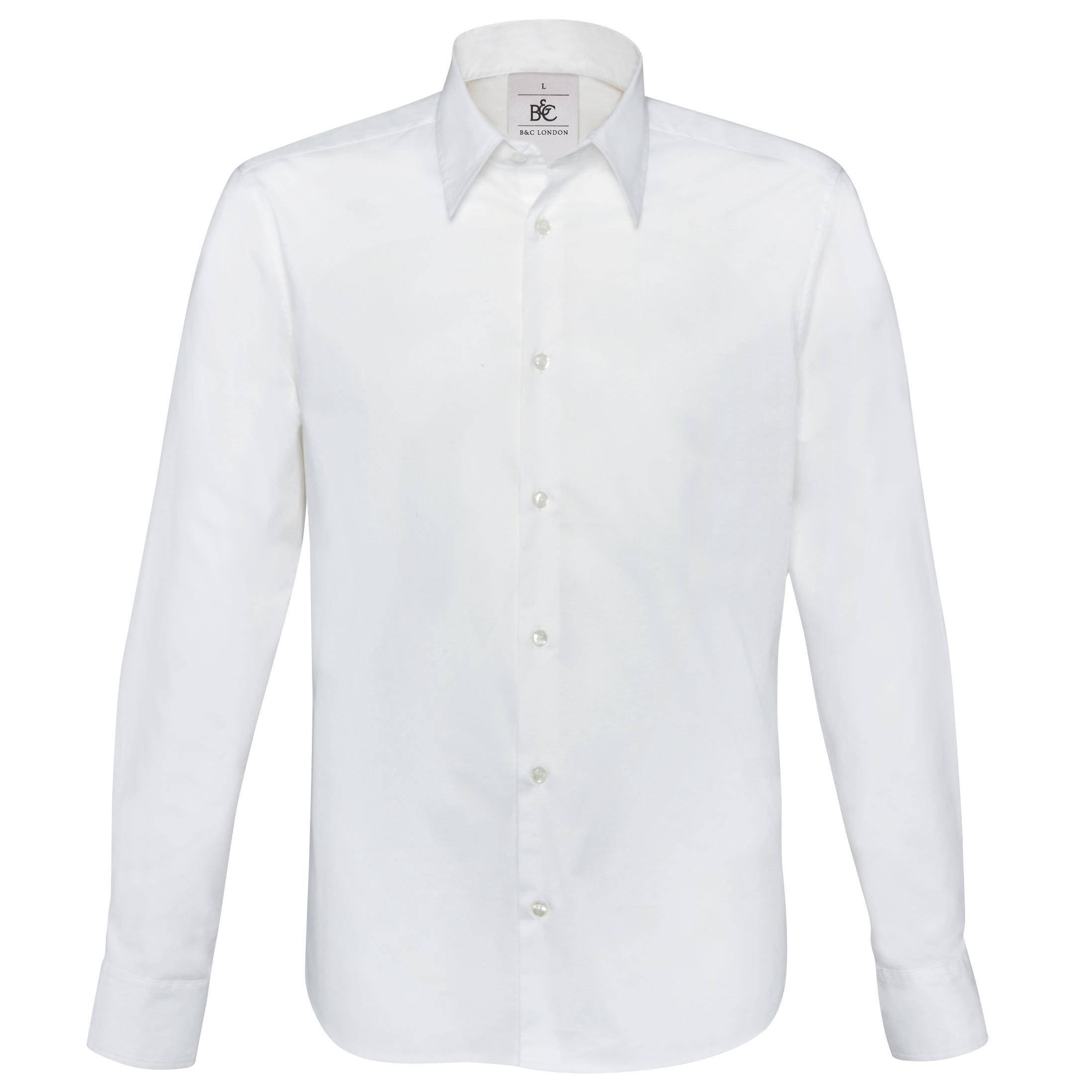 B&C Mens London Long Sleeve Poplin Shirt (L) (White)