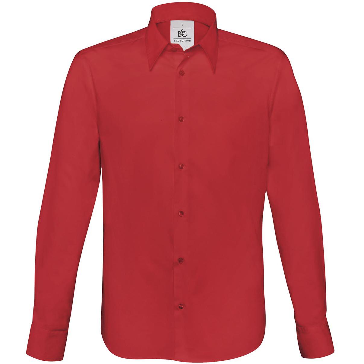 B&C Mens London Long Sleeve Poplin Shirt (S) (Deep Red)