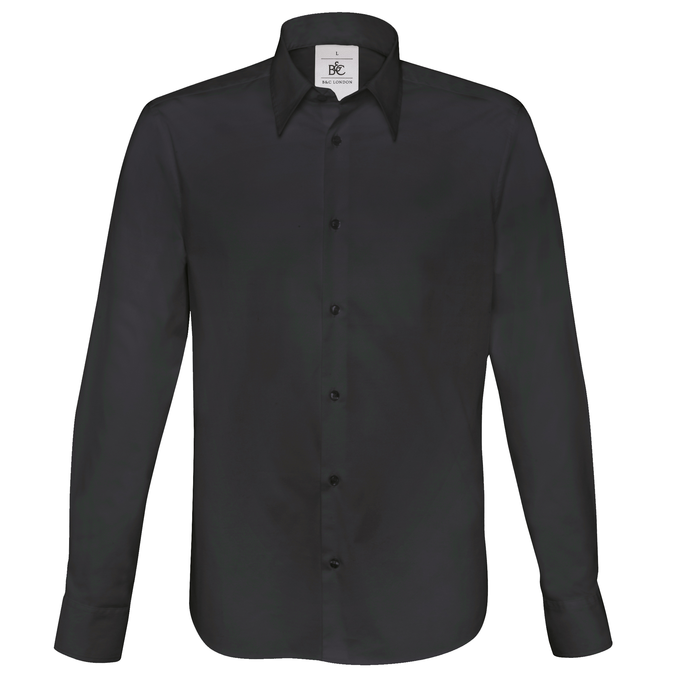 B&C Mens London Long Sleeve Poplin Shirt (S) (Black)