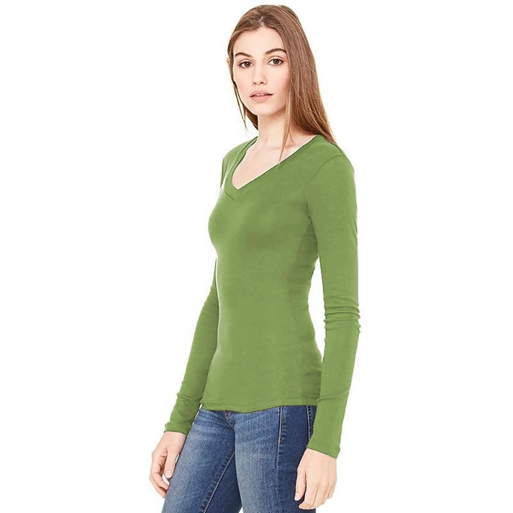 B-amp-C-Camiseta-de-manga-larga-fina-con-cuello-en-forma-de-V-en-canale-Verde-musgo miniatura 3