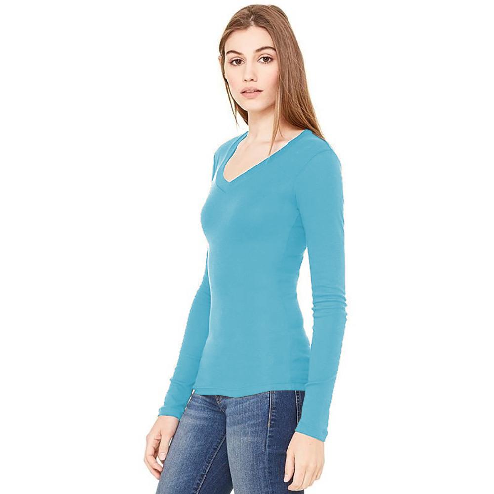B-amp-C-Camiseta-de-manga-larga-fina-con-cuello-en-forma-de-V-en-canale-Azul-piscina miniatura 3