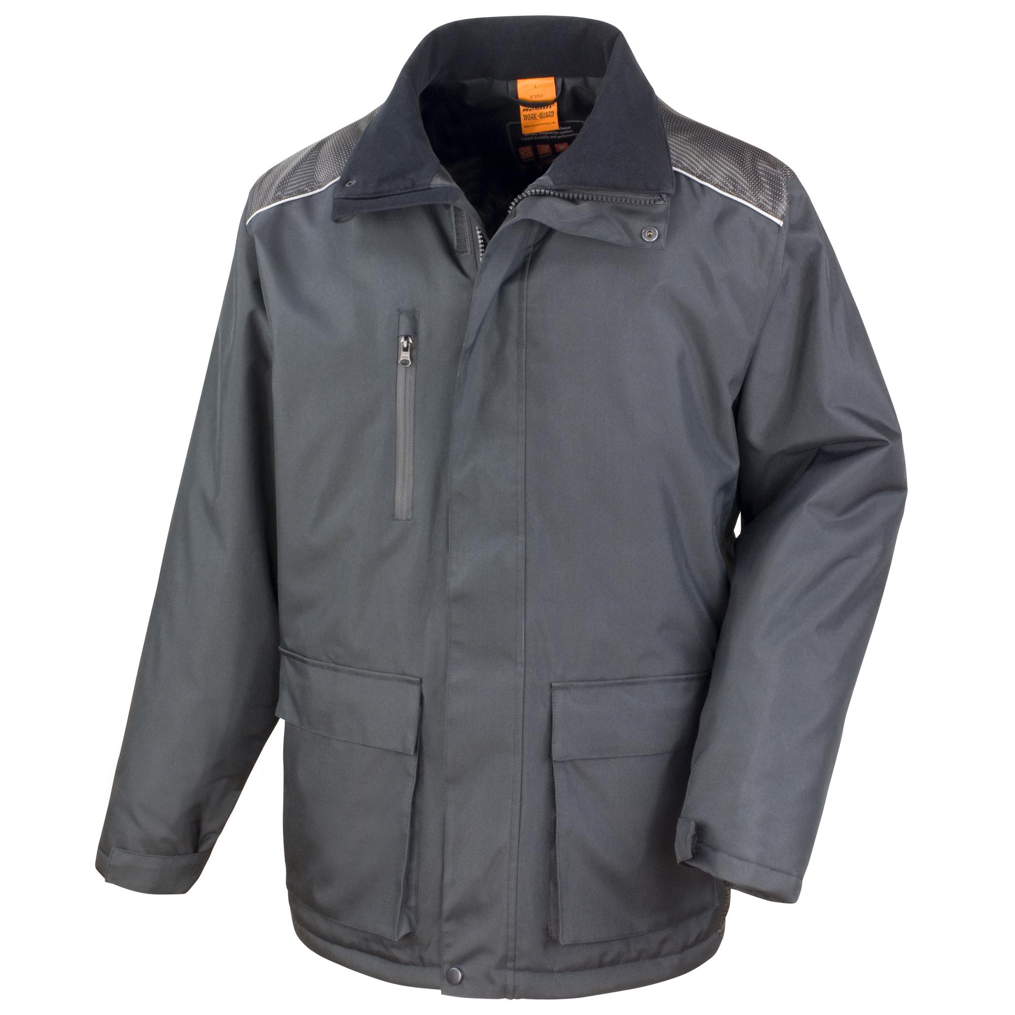 Result Mens Work-Guard Vostex Long Coat / Workwear (Waterproof & Windproof) (L) (Black)