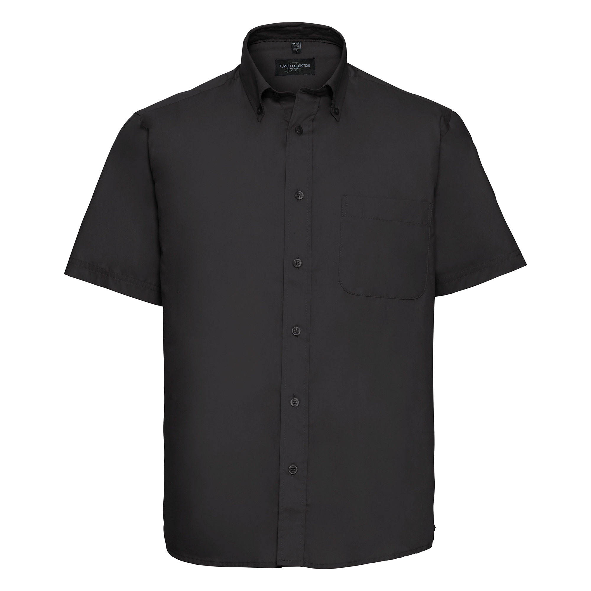Russell Collection Mens Short Sleeve Classic Twill Shirt (2XL) (Black)