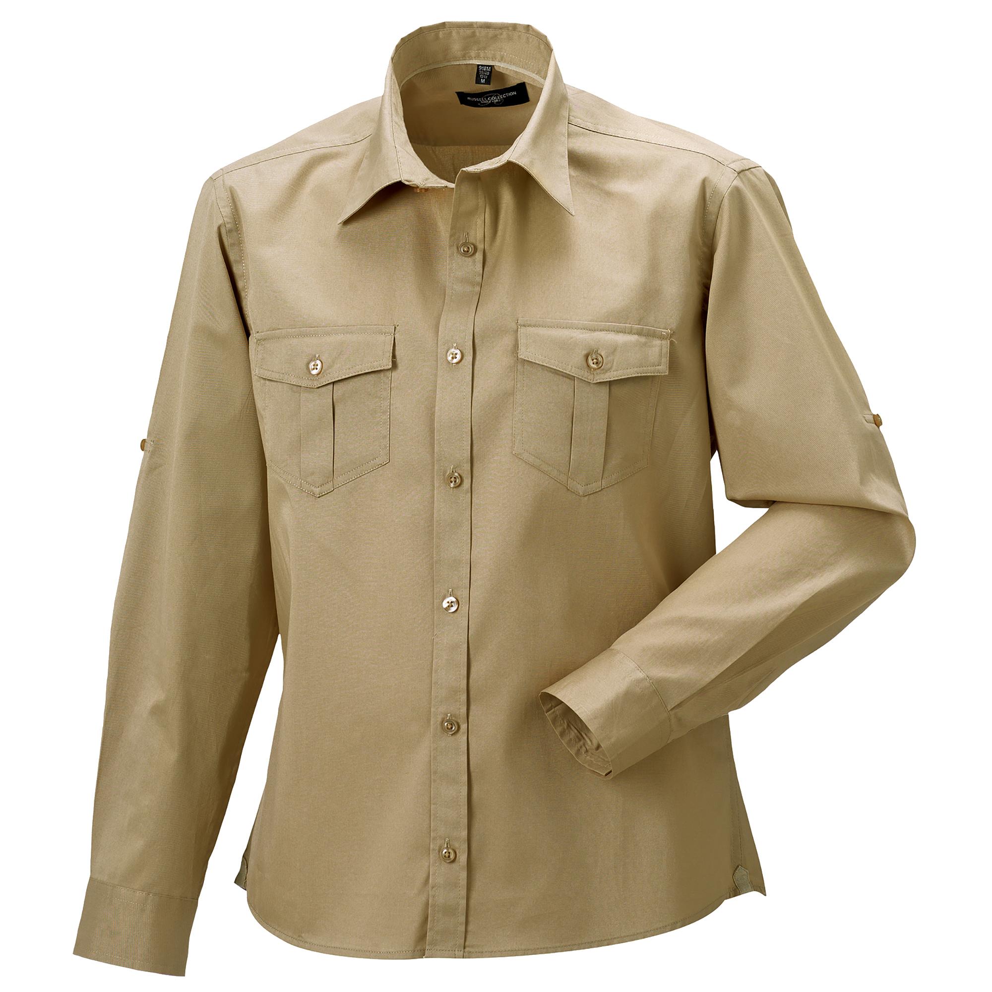 Russell Collection Mens Long / Roll-Sleeve Work Shirt (3XL) (Khaki)