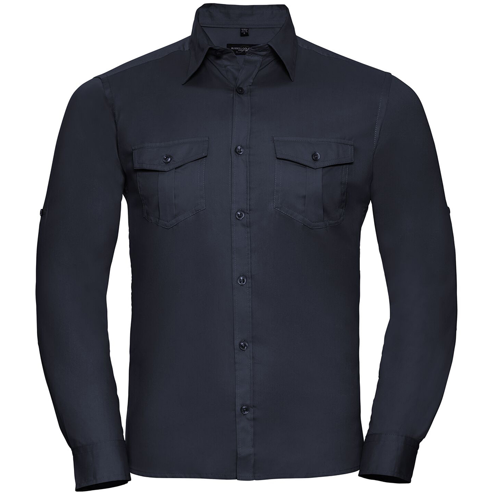 Russell Collection Mens Long / Roll-Sleeve Work Shirt (4XL) (French Navy)