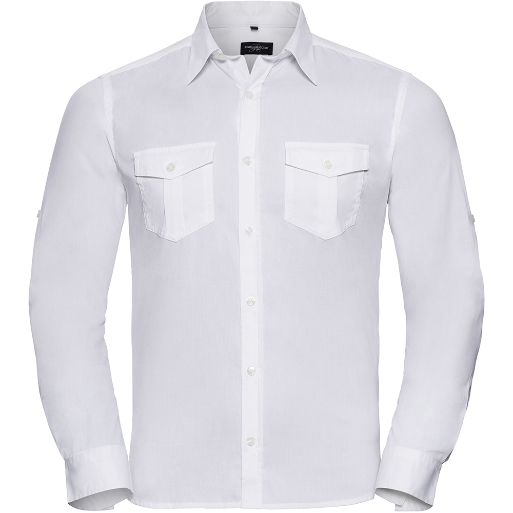 Russell Collection Mens Long / Roll-Sleeve Work Shirt (S) (White)