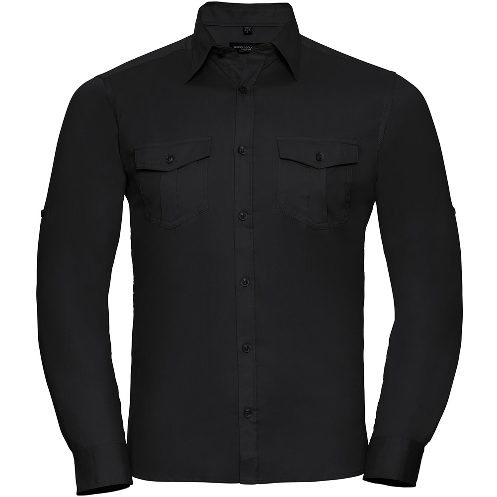 Russell Collection Mens Long / Roll-Sleeve Work Shirt (XL) (Black)