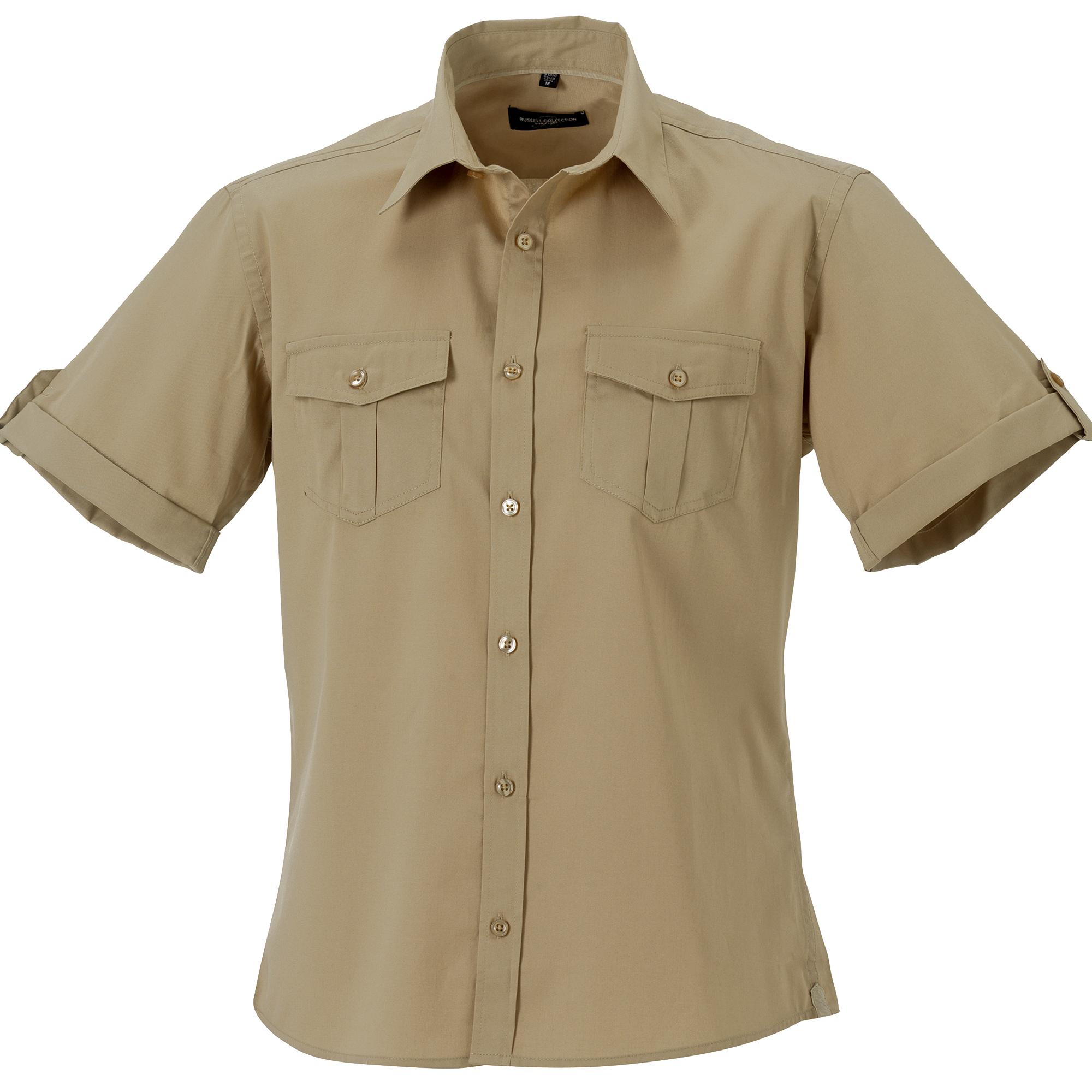 Russell Collection Mens Short / Roll-Sleeve Work Shirt (XL) (Khaki)