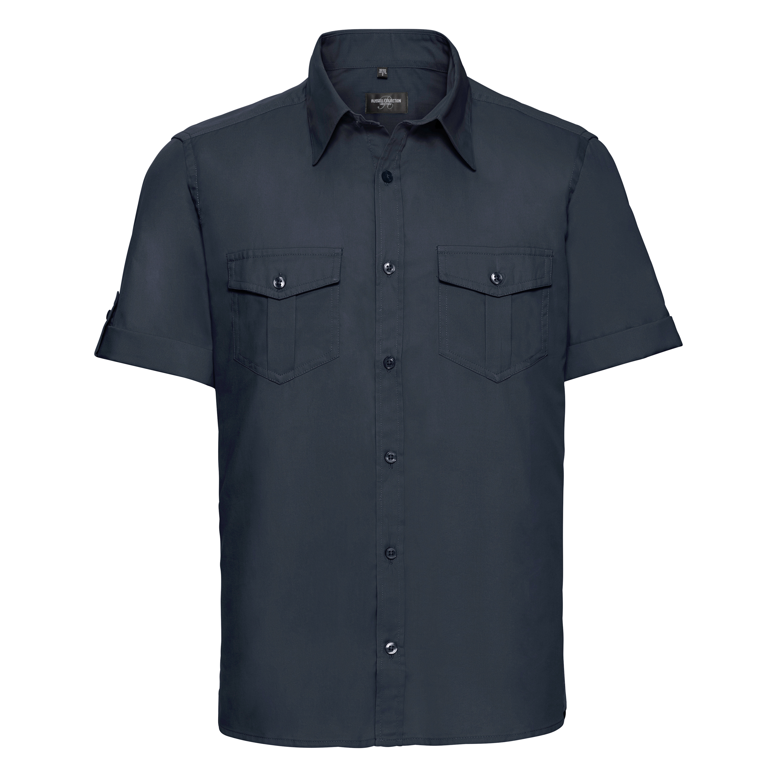 Russell Collection Mens Short / Roll-Sleeve Work Shirt (4XL) (French Navy)